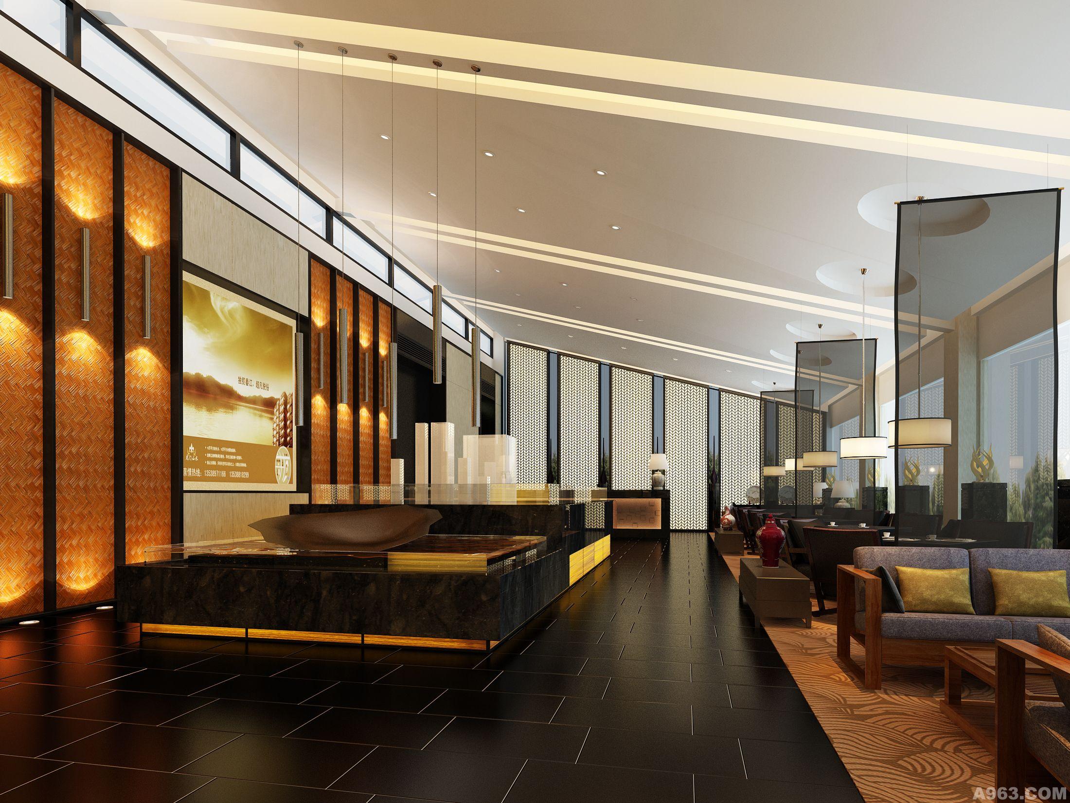 四川中式风格办公楼设计 公装设计 办公楼写字楼装修施工图效果图
