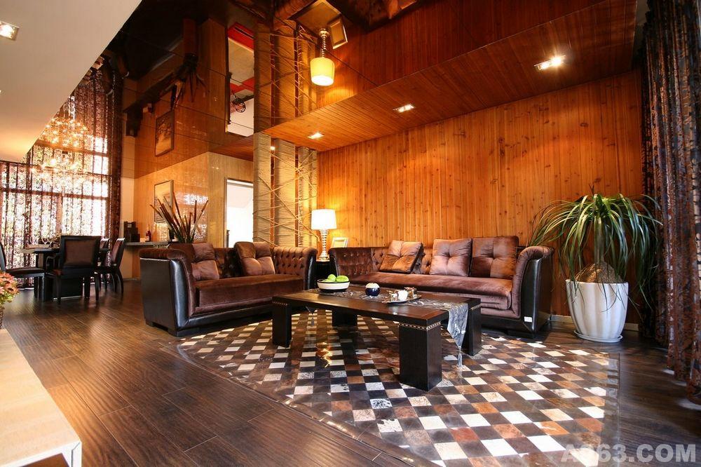 沙发背景墙,杉木板直接上墙 .
