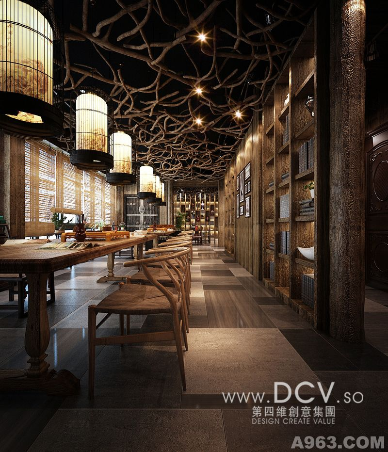 西安休闲会所室内设计—泾阳德林主题餐厅 茶秀棋牌 复古怀旧 特色新