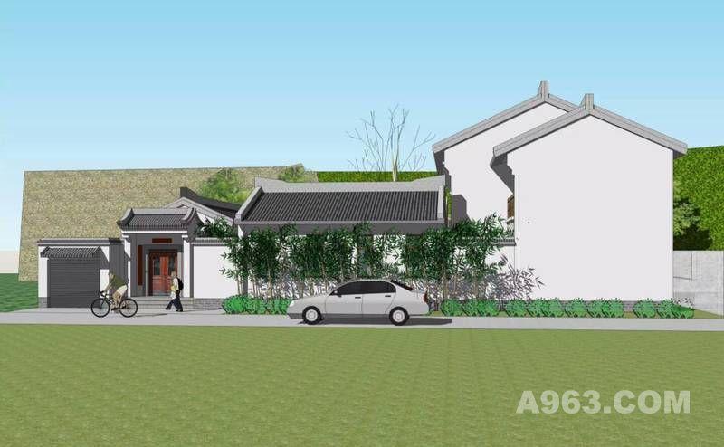 农村四合院设计 自建房一二三层徽派四合院别墅图纸 效果图平面图结构图水电图设计