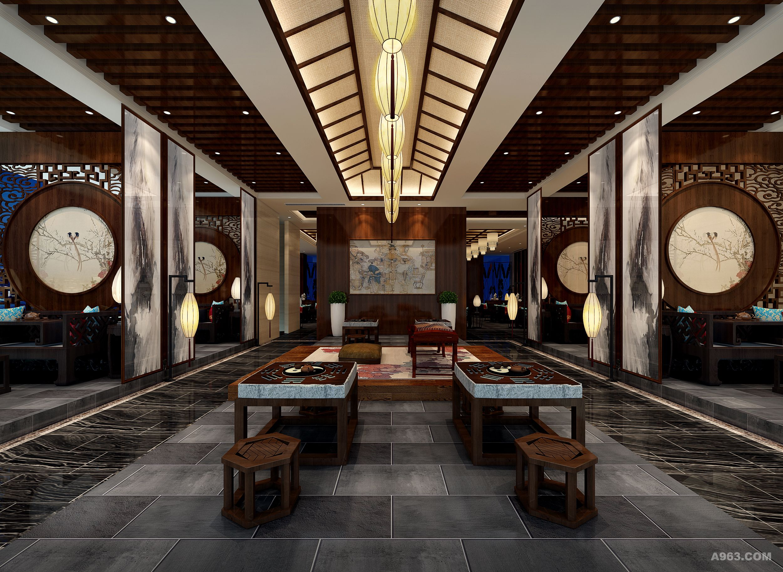 禅花茶韵新中式茶艺馆设计