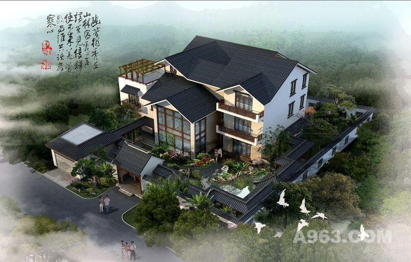 带院子中式别墅设计图展示图片